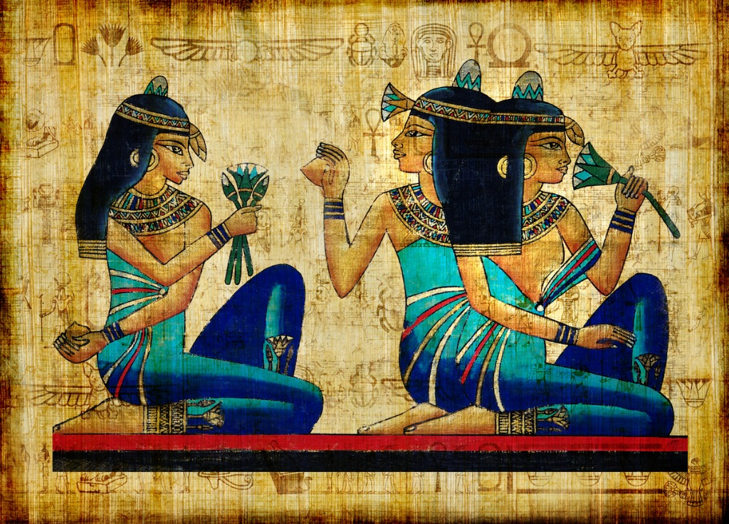 Egyptian art shows blue pigment